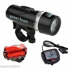 Bicycle Speedometer 5 LED Mountain Cycling Head Light & Bicycle Rear Light Lamp