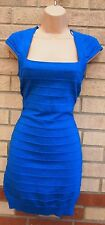 NEW LOOK STRIPE QUILTED BLUE GLITTER SPARKLY TUBE BODYCON BANDAGE DRESS 12 M