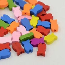 50pc Lovely Multicolor Fish Wood Beads Lovely Animal Kids Crafts Gifts Dyed DIY