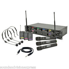 Chord HU6-C Quality 3 x Handheld 3 x Neckband UHF Wireless PA Microphone System