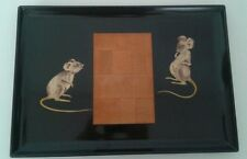 Vintage Couroc Black Lacquer Cheeseboard Tray w Wooden Mouse Appliqué
