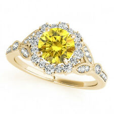 1 Carat Canary Diamond Round VS Solitaire Engagement Fancy Trendy Ring 14k Gold