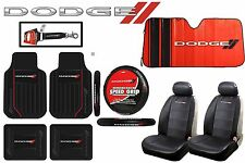 10 Pc Dodge Elite Seat Covers Front/Rear Floor Mats Steering Wheel Sun Shade