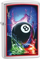 Zippo Claudio Mazzi Pool and Billiards 8 Ball Brushed Chrome Lighter NEW 29295