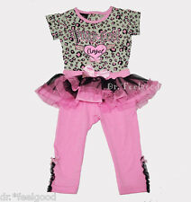 DDG Pink Leopard Tutu Legging Set 2-3 y.o. Toddler Girls Casual Party Dress- New