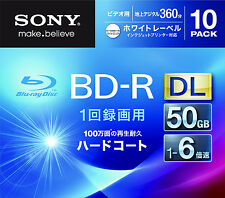 10 Sony 3D Bluray BD-R DL 50GB 6X Speed Inkjet Printable Bluray Region Free Disc