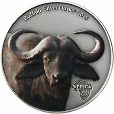 Africa series: Gabon 1000 francs 2015 antique Finish buffle Colored silver OZ