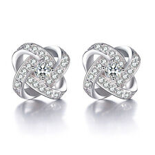 Womens 925 Sterling Silver Swarovski Crystal Eternal Heart Ear Stud Earrings New