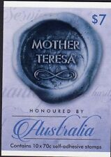 2015 STAMP BOOKLET HONOURED BY AUSTRALIA MOTHER TERESA 10 x 70c STAMPS MUH