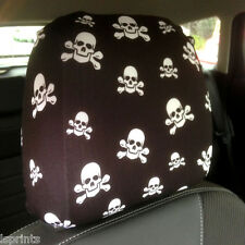 CAR SEAT HEAD REST COVER 2 PACK BLACK & WHITE SKULL & CROSSBONES DESIGN