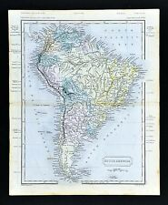 1851 Sydney Hall Map South America Mountain Heights Brazil Argentina Chile Peru