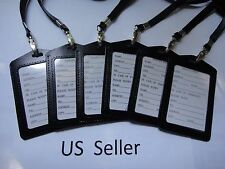 6X-ID Card Holder Badge Retractable Genuine Leather with neck strap US Seller