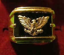 925 Sterling Silver , 14K Gold  ONYX Thick EAGLE Men's band Ring