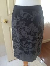 Rena Lange NWOT size 6 charcoal grey wool skirt with flannel grey cutout design