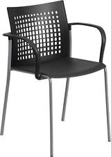 BLACK CAFÉ RESTAURANT INDOOR OUTDOOR STACK CHAIR WITH ARMS AND VENTED BACK