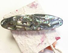 Hair clip Mexico Abalone Mother of Pearl Wave Design Handmade Fair Trade Gift.