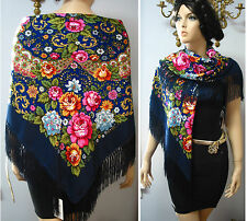 "Russian Shawl Floral w/Fringes 49""/125cm, ""Pavlovo Posad style"" NWT D.Blue  #98i"