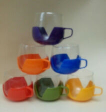 VINTAGE RETRO PLASTIC & GLASS COFFEE CUPS VW  Camping SET OF 6