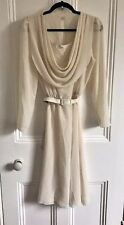 Vintage 1980s Cream Cowl Neck and Lace Dress size 16