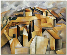 Houses on the Mountain - Hand Painted Picasso Cubist Oil Painting On Canvas