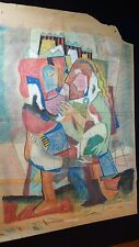 Vintage Pastel Drawing by Texas Artist Chester Snowden ABSTRACT