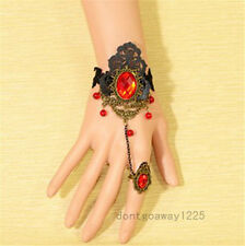 Sexy New Vintage Ruby Red Black Lace Slave Bronze Bracelet Ring Gothic Punk Hot