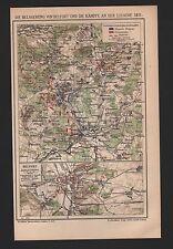 Carte MAP 1901: siège de Belfort combats à la Lisaine 1871. France