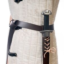 Small Leather Medieval Sword Frog - Sword Belt Hanger, Brown, Made in USA 22622