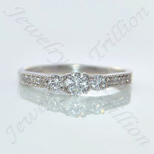 14K Solid White Gold Finish 3-Stone Round Cut Diamond Engagement Ring