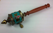 Buddhist Prayer Wheel Brass Copper Meditation Yoga Mantra Handmade Nepal Tibetan
