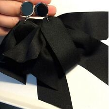 Extra Large Satin Ribbon Bow Flower  Like Grey or Black Earrings