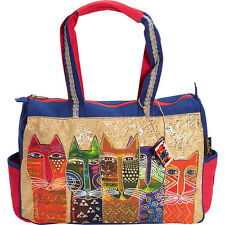 Laurel Burch Long Neck Cats Medium Tote - Multi
