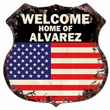 BP0376 WELCOME HOME OF ALVAREZ Family Name Shield Chic Sign Home Decor Gift