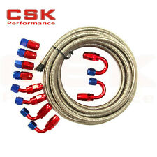 AN6 -6AN Stainless Steel Braided OIL FUEL Line + Fitting Hose End Adaptor KIT SL