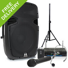 """Ekho RS15A 15"""" PA Active Speaker + Wireless Microphone System + Stand 800W"""
