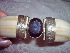 Vintage Bone Smokey Topaz Stone Hinged Cuff Carved Bracelet Bangle