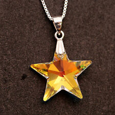 Sterling Silver Necklace With Swarovski Element Crystal Star Pendant Clear AB