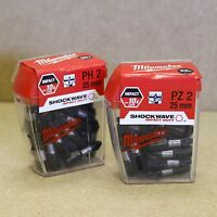 MILWAUKEE SHOCKWAVE IMPACT DRIVER SCREW DRIVER BITS 25 x PH2 & 25 x PZ2 TIC TAC
