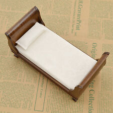 Mini Vintage Wooden Single Bed Brown with Mattress Doll House Furniture For Kids