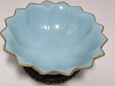 "Rare antique 7 1/2"" Chinese blue ru kiln porcelain petaled bowl with metal edge"