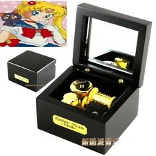 Square Black Wood Wind Up Music Box  : Sailor Moon Moonlight Densetsu