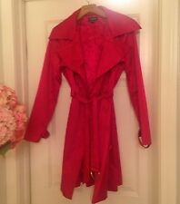 BEBE RED Satin Silk Duster Maxi Trenchcoat Trench Coat S Small NWOT SALE!! $189