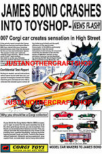 Corgi Toys 261 James Bond Aston Martin DB5 Large Size Poster Leaflet Sign 1966