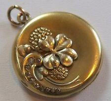 Antique W&H Co. Gold Filled Paste Rhinestone SHAMROCK CLOVER Locket/Pendant