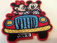 "Mickey Mouse and Minnie  go for a drive iron on patch 3"" x 2.5"" Never Applied"
