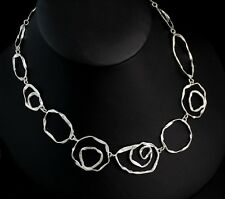 """New Sterling Silver Modernist Studio Artisan Abstract  Circle Link Necklace 20"""""""