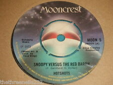 "VINYL 7"" SINGLE - HOTSHOTS - SNOOPY VERSUS THE RED BARON - MOON 5"