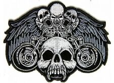 """(G42) Small MOTORCYCLE SKULLS & WINGS 4.5"""" x 3.25"""" iron on patch (5005) Biker"""