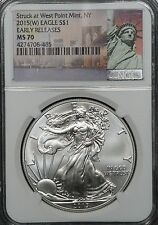 2015 W Silver Eagle, West Point, Statue of Liberty Label NGC MS70 Early Releases