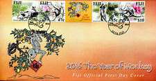 Fiji 2016 FDC Year of Monkey 4v Cover Monkeys Chinese Lunar New Year Stamps